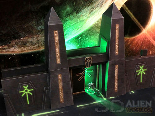 photo about Printable Terrain identify 3DAlienWorlds Necrontyr Tombcity Wall Fastened ( Sci-Fi